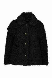 Womens Plus Teddy Faux Fur Pea Coat - black - 20, Black