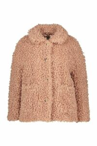 Womens Plus Teddy Faux Fur Pea Coat - pink - 18, Pink