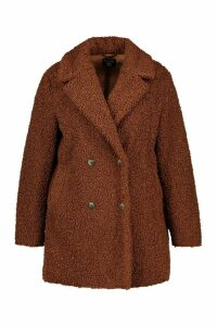 Womens Plus Teddy Faux Fur Double Breasted Coat - brown - 24, Brown