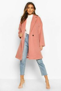 Womens Luxe Brushed Wool Look Button Through Coat - pink - 10, Pink