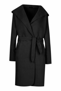 Womens Hooded Belted Shawl Coat - black - 12, Black