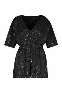 Womens Sparkle Wrap Front Playsuit - black - 16, Black