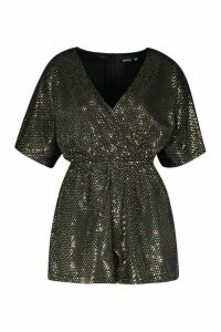 Womens Sparkle Wrap Front Playsuit - metallics - 16, Metallics