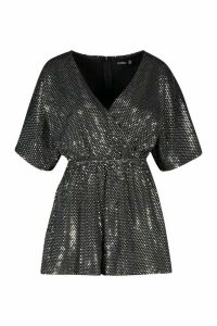 Womens Sparkle Wrap Front Playsuit - grey - 14, Grey