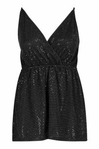 Womens Plus Wrap Front Sequin Strappy Playsuit - black - 20, Black