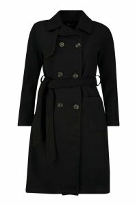 Womens Longline Pocket Detail Wool Look Trench Coat - black - 12, Black