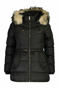 Womens Faux Fur Trim Parka - black - 10, Black