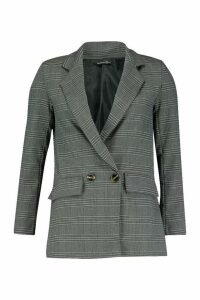Womens Double Breasted Check Blazer - grey - 14, Grey
