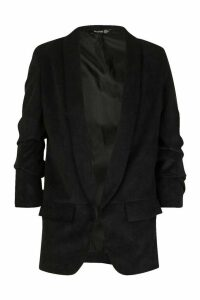 Womens Ruched Sleeve Cord Blazer - black - 12, Black