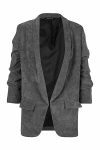 Womens Ruched Sleeve Cord Blazer - grey - 12, Grey