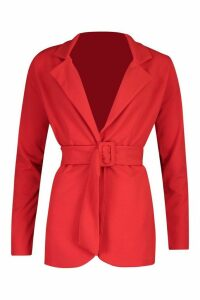 Womens Self Fabric Belt Tailored Blazer - 14, Red