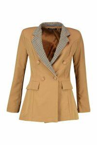 Womens Contrast Check Collar Blazer - beige - 14, Beige
