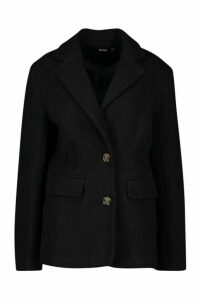 Womens Oversized Wool Look Blazer - black - 14, Black