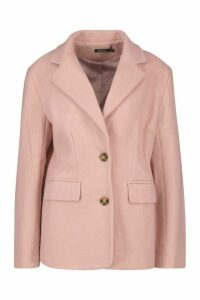 Womens Oversized Wool Look Blazer - Pink - 14, Pink