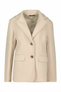 Womens Oversized Wool Look Blazer - beige - 14, Beige