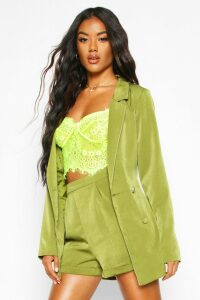 Womens Double Breasted Belted Blazer - Green - M, Green
