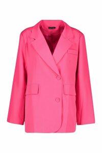 Womens Oversized Boyfriend Blazer - Pink - 14, Pink