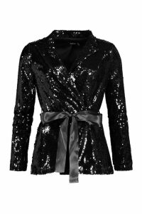 Womens Petite Sequin Long Line Belted Blazer - black - 12, Black