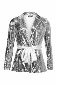 Womens Petite Sequin Long Line Belted Blazer - grey - 4, Grey