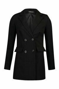Womens Double Breasted Longline Blazer - black - 14, Black