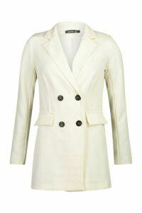 Womens Double Breasted Longline Blazer - white - 14, White