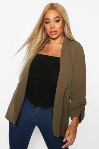 Womens Plus Ruched Sleeve Blazer - green - 16, Green