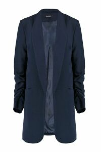 Womens Ruched Sleeve Blazer - navy - M, Navy