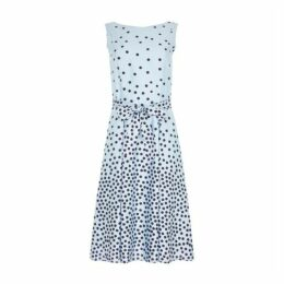 Powder Blue Spotted Fit and Flare Dress