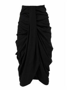 Isabel Marant Black Virgin Wool Datisca Draped Skirt
