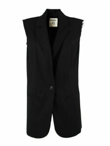 SEMICOUTURE Black Wool Blend Tailored Waistcoat