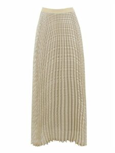 SEMICOUTURE Cream Printed Pleated Midi Skirt