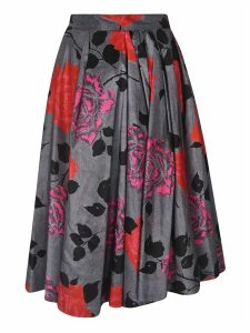MSGM Rose Print Pleated Skirt