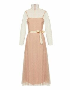 RED Valentino Long Pois Dress With Plisse Skirt/lungo Pois Ml