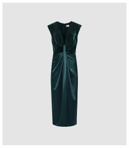 Reiss Livvy - Plunge Neckline Midi Dress in Teal, Womens, Size 16