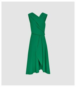 Reiss Marling - Wrap Front Midi Dress in Green, Womens, Size 16