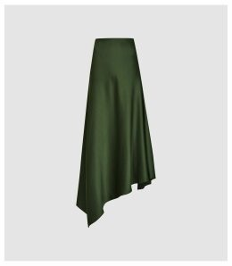 Reiss Harley - Asymmetric Satin Skirt in Green, Womens, Size 14
