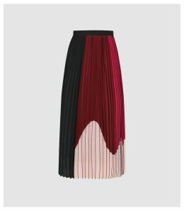 Reiss Carlie - Colour Block Pleated Midi Skirt in Black/pink, Womens, Size 14