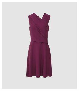 Reiss Marianne - Wrap Front Mini Dress in Berry, Womens, Size 16