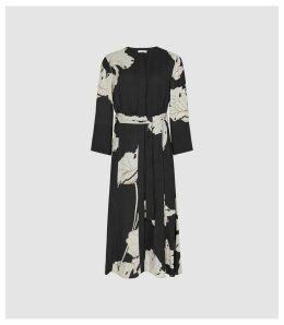 Reiss Zana - Floral Printed Midi Dress in Black, Womens, Size 16