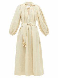 Lisa Marie Fernandez - Poet Balloon Sleeve Linen Blend Dress - Womens - Beige