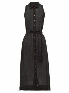 Lisa Marie Fernandez - Alison Belted Linen Blend Shirtdress - Womens - Black