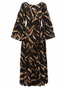 Lisa Marie Fernandez - Peasant Abstract Print Tiered Crepe Maxi Dress - Womens - Brown Print