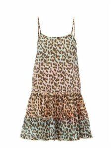 Juliet Dunn - Leopard Print Ruffled Hem Cotton Dress - Womens - Pink Print