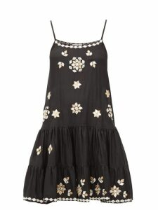 Juliet Dunn - Mirror Embellished Silk Mini Dress - Womens - Black