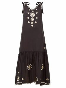 Juliet Dunn - Mirror Embellished Silk Dress - Womens - Black
