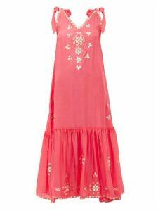 Juliet Dunn - Mirror Embellished Silk Dress - Womens - Pink