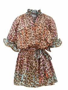 Juliet Dunn - Leopard Print Ruffled Cotton Dress - Womens - Pink Print
