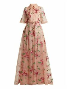 Carolina Herrera - Floral Embroidered Silk Gown - Womens - Pink Multi