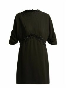 Prada - Embellished Crêpe Dress - Womens - Black