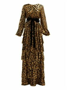 Valentino - Tiered Leopard Fil Coupé Chiffon Gown - Womens - Black Gold